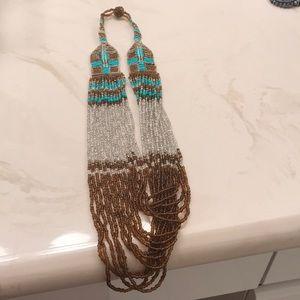 Boho beaded statement necklace